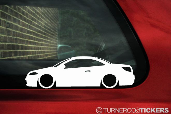 2x Low car outline stickers - Renault Megane cc coupe convertible (Mk2)